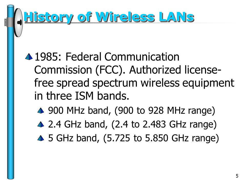5 History of Wireless LANs 1985: Federal Communication Commission (FCC). Authorized license- free spread spectrum wireless equipment in three ISM band