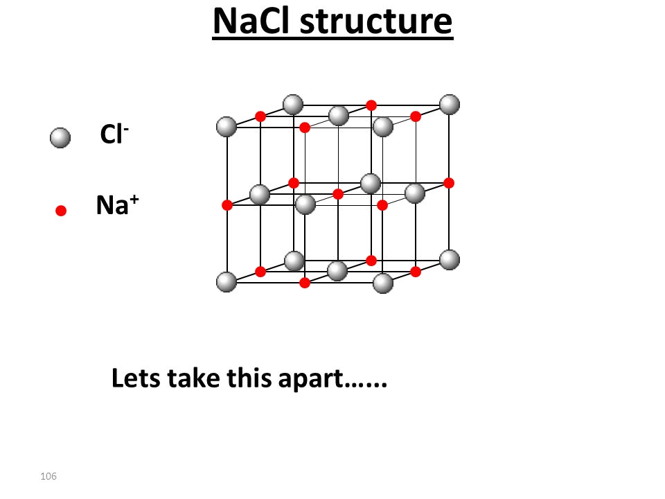 105 The stability of the ionic compound results from the electrostatic attractions between the ions: Li + F – F – Li + Li + F – F – Li + The LiF cryst