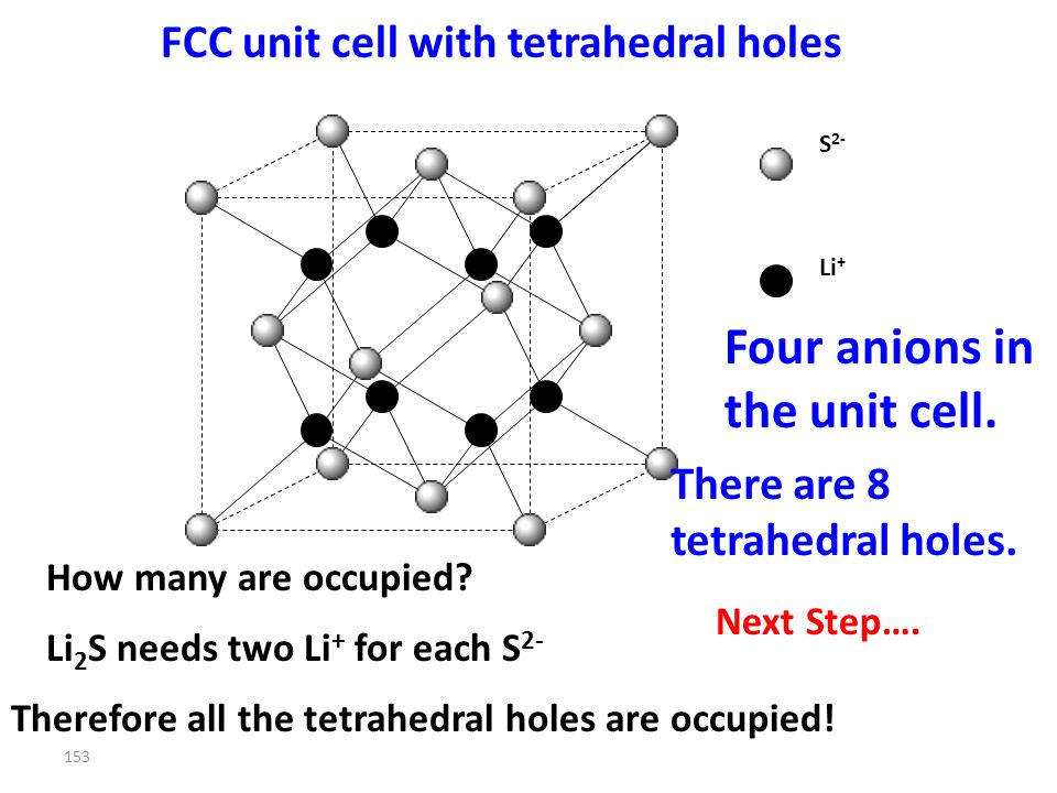 152 So???? FCC unit cell with tetrahedral holes ANION CATION There are 8 tetrahedral holes. How many are occupied? Four anions in the unit cell. STEP