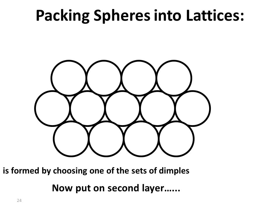 """23 Packing Spheres into Lattices: Next Layer The next spheres fit into The two types of """"dimples"""" formed by three spheres in the first layer. The seco"""