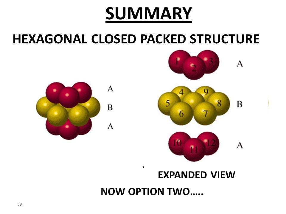 38 HCP HEXAGONAL UNIT CELL ABA ARRANGEMENT HAS A HEXAGONAL UNIT CELL. SUMMARY...