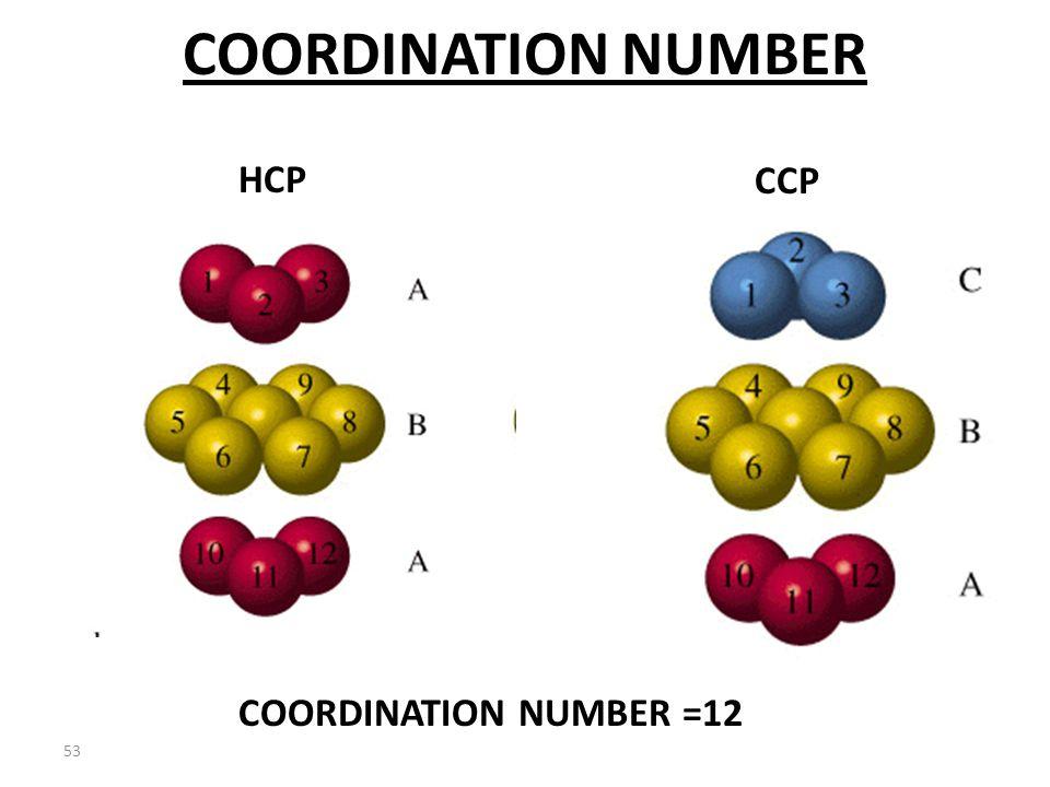 52 COORDINATION NUMBER HCPCCP COORDINATION NUMBER =12