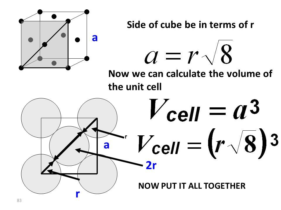 82 Let side of cube be a a GET a in terms of r a r 2r r a 2 + a 2 = (4r) 2 2a 2 = 16r 2 a 2 = 8r 2 FACE DIAGONAL = r + 2r + r=4r PYTHAGORAS !