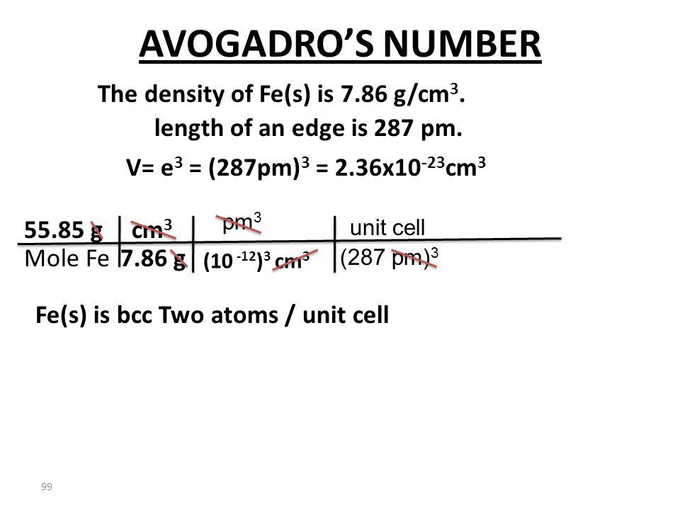 98 AVOGADRO'S NUMBER The density of Fe(s) is 7.86 g/cm 3. V= e 3 = (287pm) 3 = 2.36x10 -23 cm 3 Fe(s) is bcc Two atoms / unit cell length of an edge i