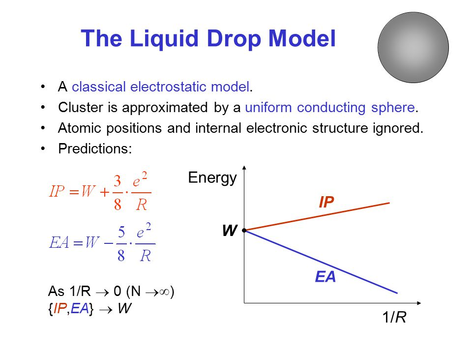 The Liquid Drop Model A classical electrostatic model.