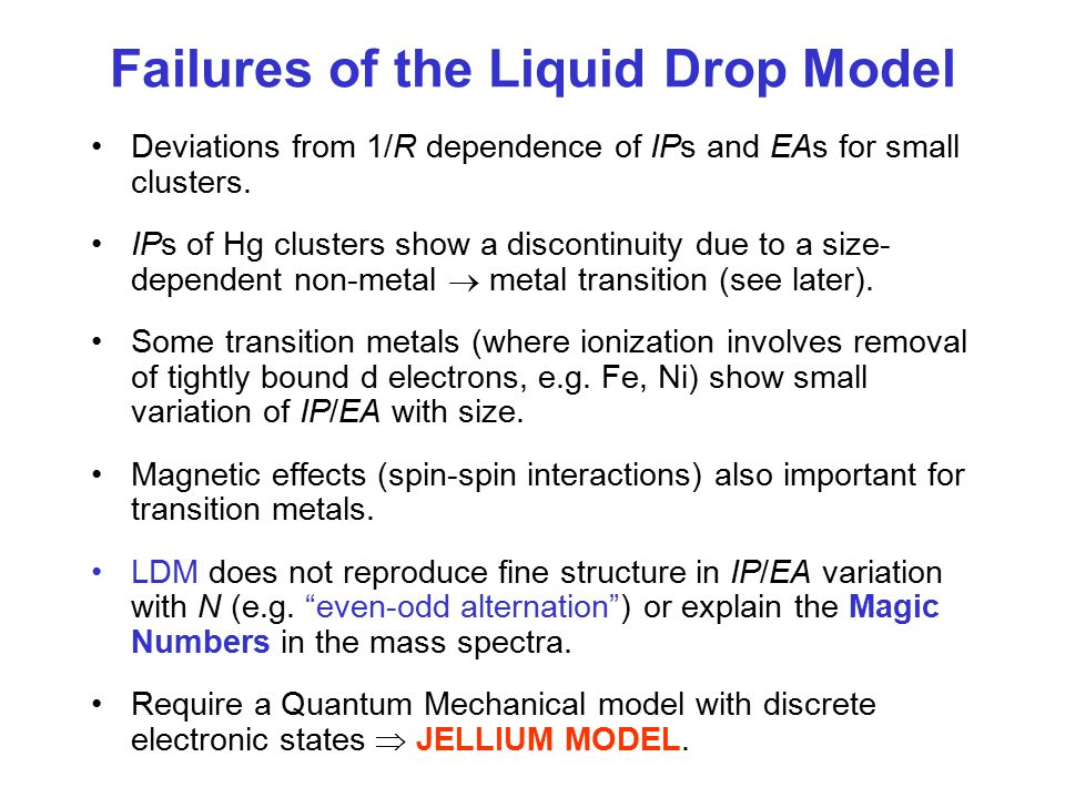 Failures of the Liquid Drop Model Deviations from 1/R dependence of IPs and EAs for small clusters.