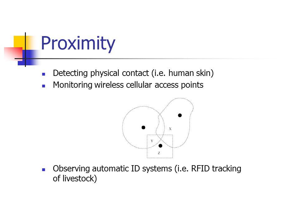 Proximity Detecting physical contact (i.e.