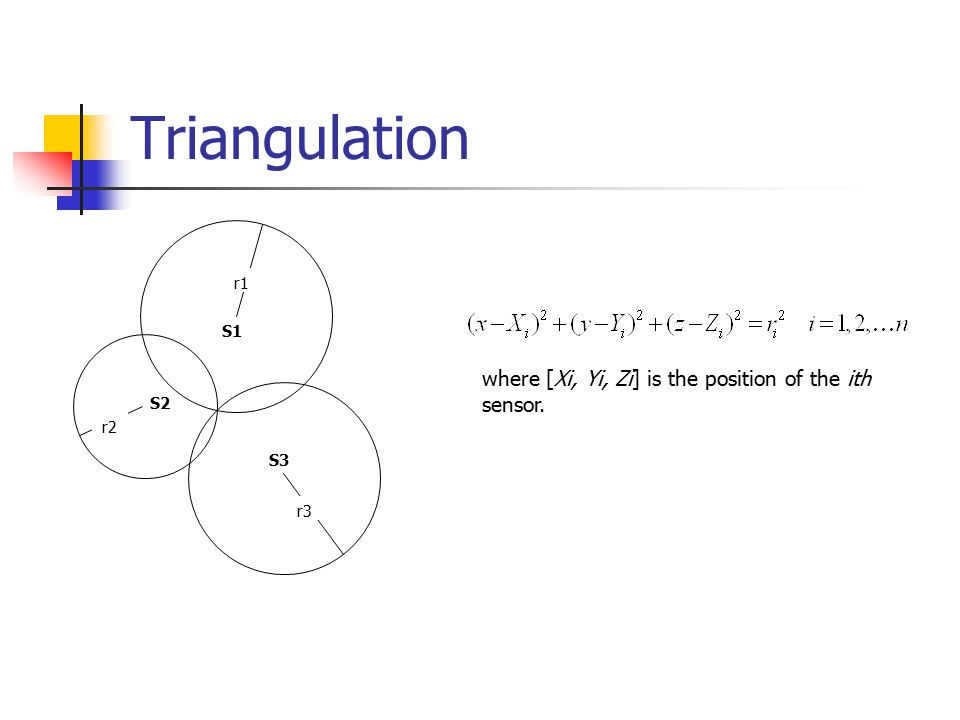 Triangulation where [Xi, Yi, Zi] is the position of the ith sensor. S3 S2 S1 r3 r2 r1