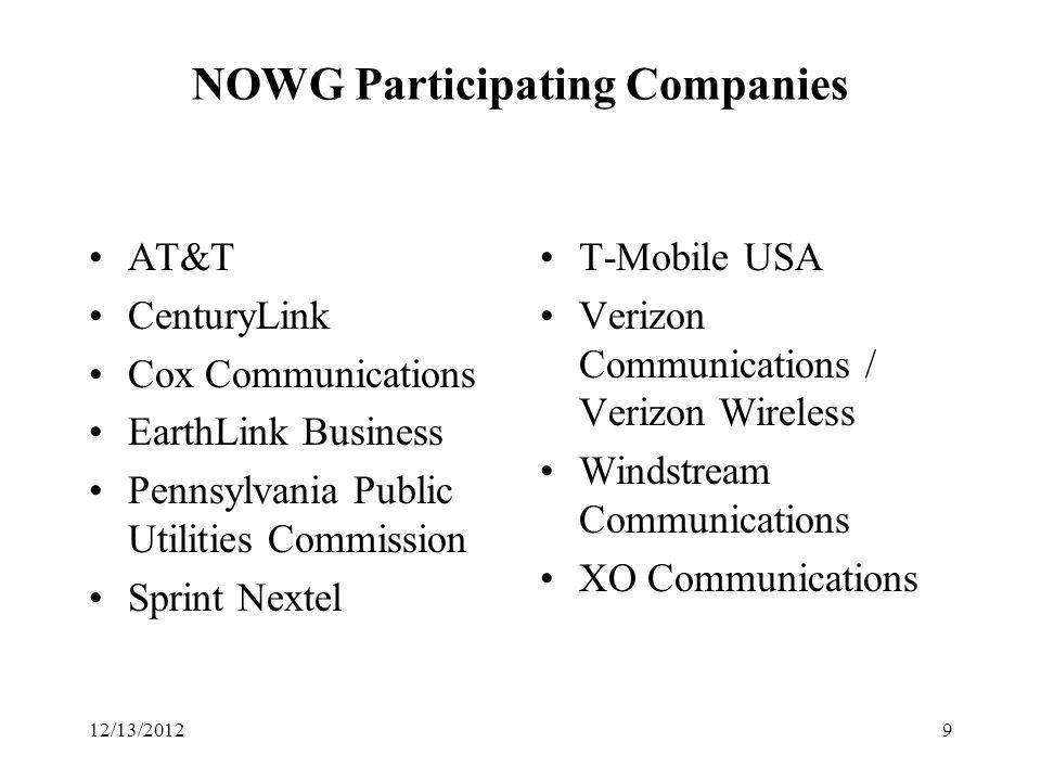 NOWG Participating Companies AT&T CenturyLink Cox Communications EarthLink Business Pennsylvania Public Utilities Commission Sprint Nextel T-Mobile USA Verizon Communications / Verizon Wireless Windstream Communications XO Communications 912/13/2012