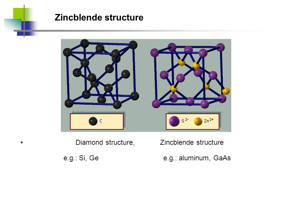Zincblende structure Diamond structure, Zincblende structure e.g.: aluminum, GaAse.g.: Si, Ge