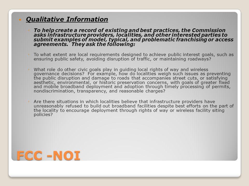 FCC - NOI Questions???