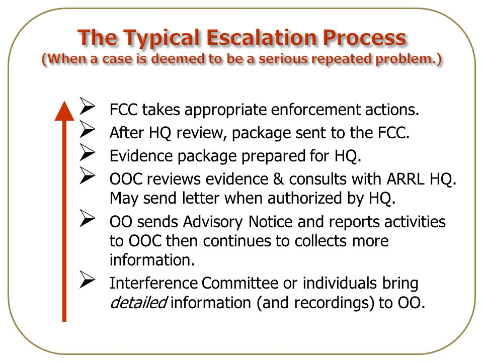  FCC takes appropriate enforcement actions.  After HQ review, package sent to the FCC.
