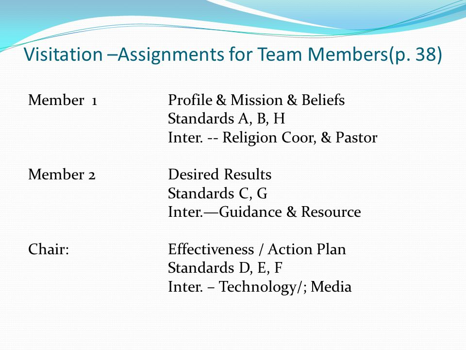 Visitation –Assignments for Team Members(p.