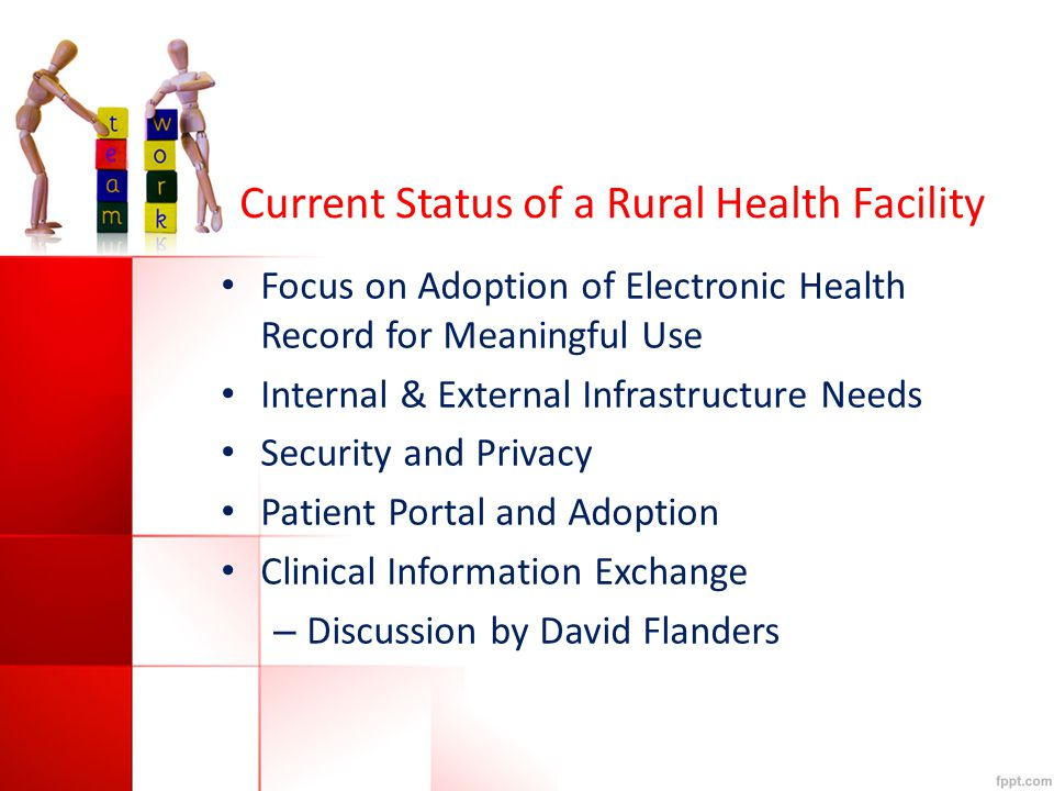 Current Status of a Rural Health Facility Focus on Adoption of Electronic Health Record for Meaningful Use Internal & External Infrastructure Needs Security and Privacy Patient Portal and Adoption Clinical Information Exchange – Discussion by David Flanders