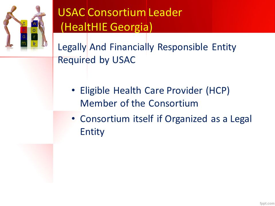 USAC Consortium Leader (HealtHIE Georgia) Legally And Financially Responsible Entity Required by USAC Eligible Health Care Provider (HCP) Member of the Consortium Consortium itself if Organized as a Legal Entity