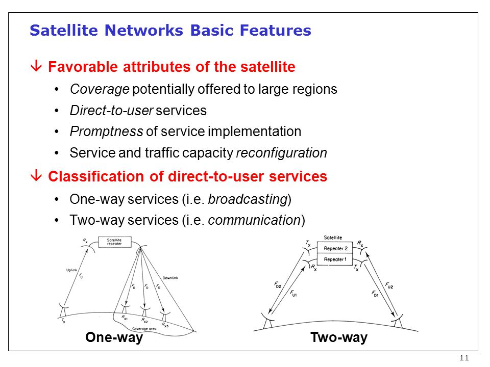 11 Satellite Networks Basic Features âFavorable attributes of the satellite Coverage potentially offered to large regions Direct-to-user services Promptness of service implementation Service and traffic capacity reconfiguration âClassification of direct-to-user services One-way services (i.e.