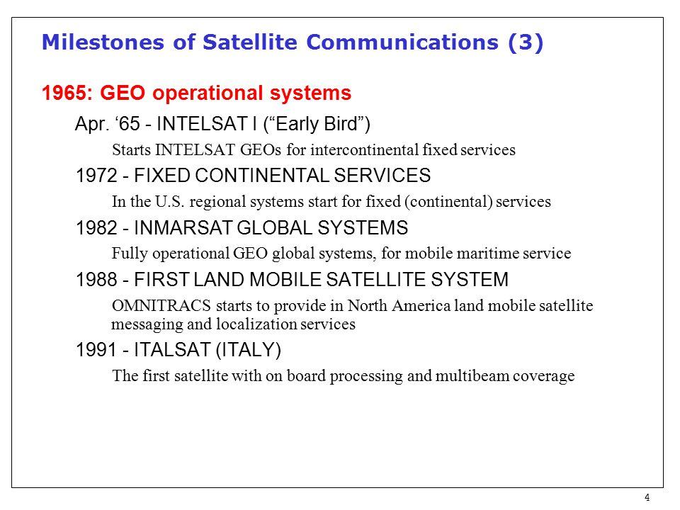 4 Milestones of Satellite Communications (3) 1965: GEO operational systems Apr.