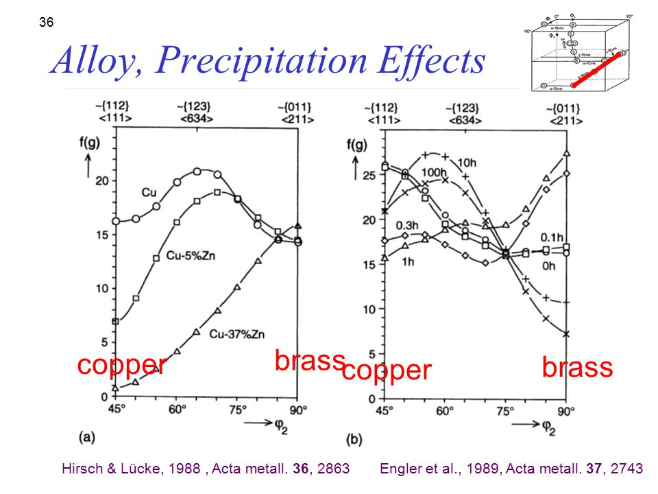 35 Effect of Alloying: Cu-Zn (brass); the texture transition Zn content: (a) 0%, (b) 2.5%, (c) 5%, (d) 10%, (e) 20% and (f) 30% [Stephens PhD, U Arizo