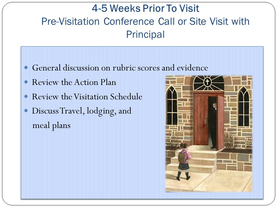 4-5 Weeks Prior To Visit Pre-Visitation Conference Call or Site Visit with Principal General discussion on rubric scores and evidence Review the Action Plan Review the Visitation Schedule Discuss Travel, lodging, and meal plans General discussion on rubric scores and evidence Review the Action Plan Review the Visitation Schedule Discuss Travel, lodging, and meal plans