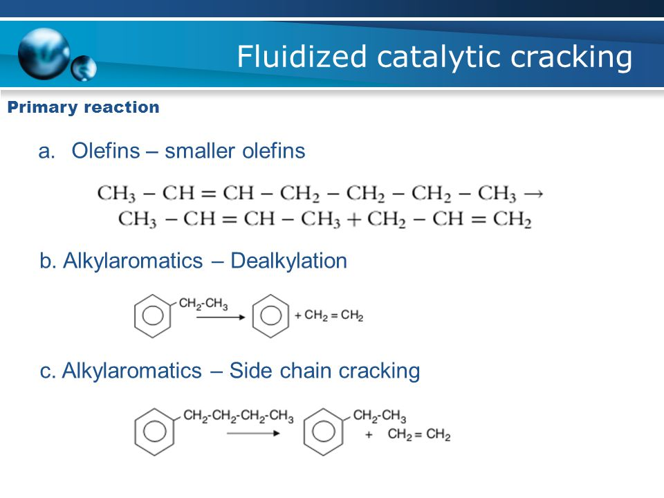Fluidized catalytic cracking Primary reaction a.Olefins – smaller olefins b.
