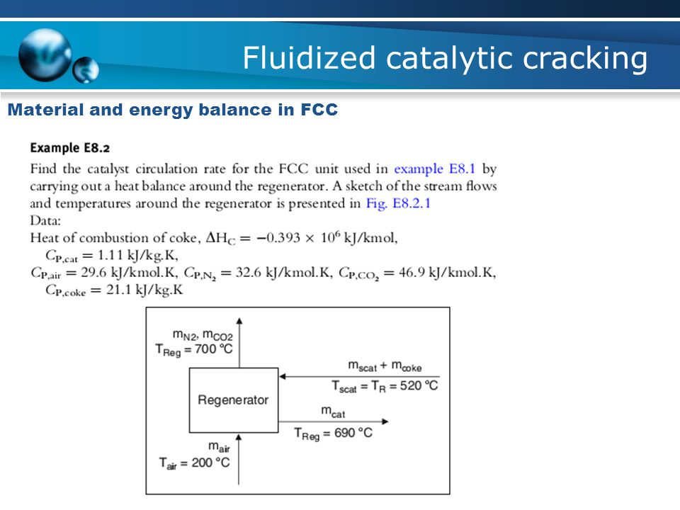 Fluidized catalytic cracking Material and energy balance in FCC