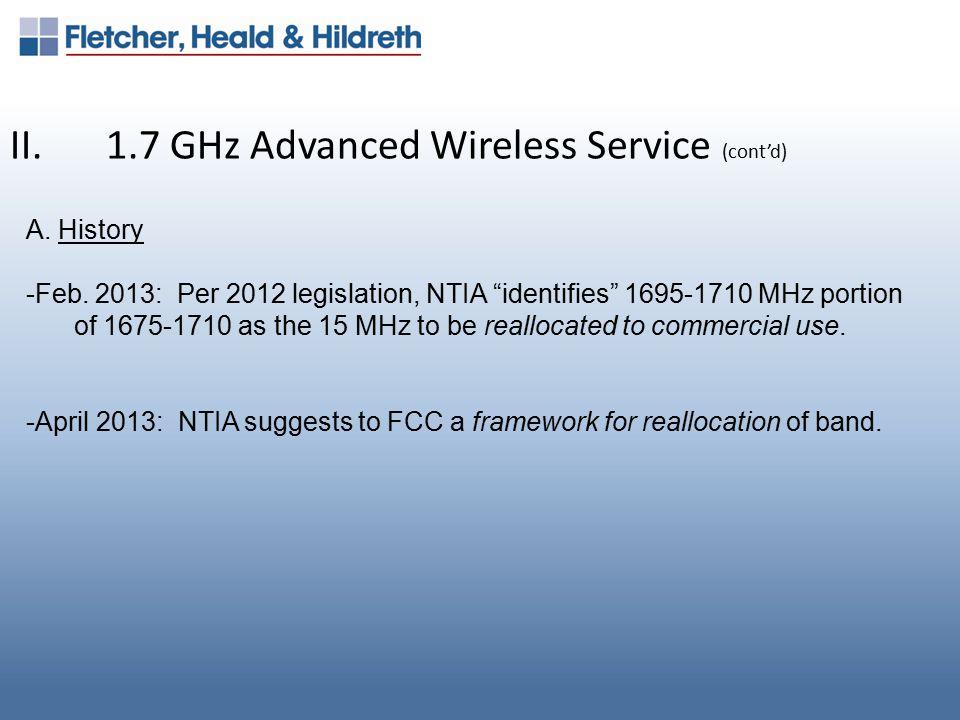 II.1.7 GHz Advanced Wireless Service (cont'd) B.