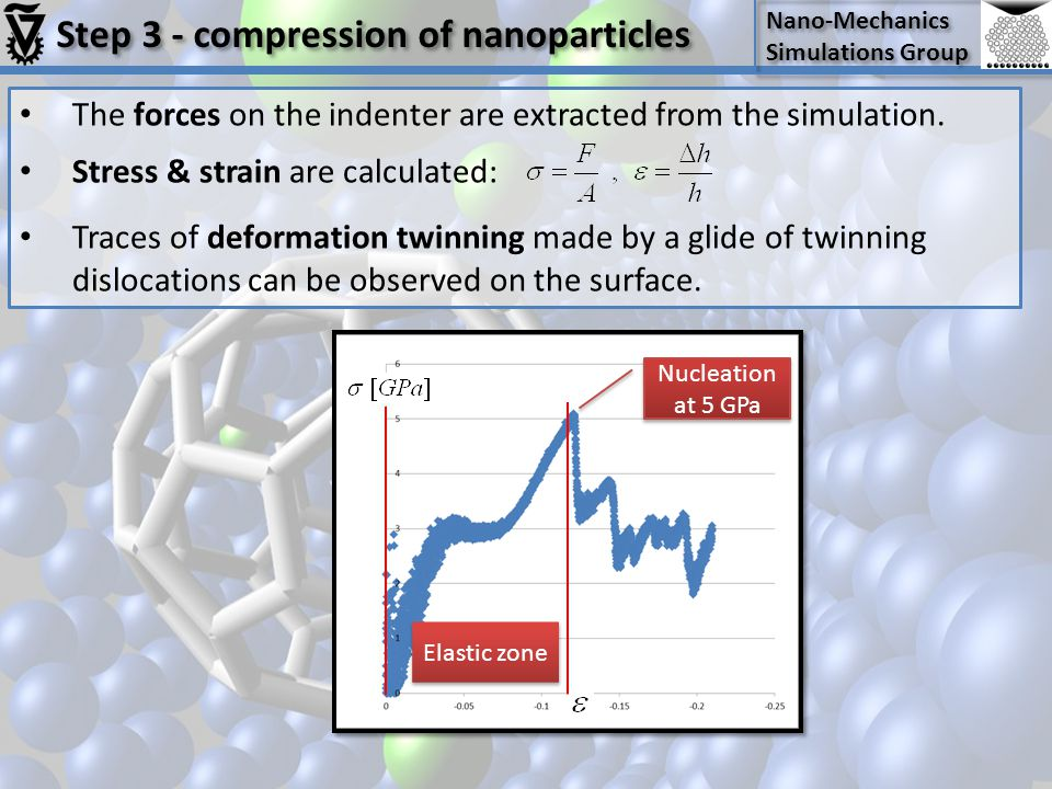 Nano-Mechanics Simulations Group Nano-Mechanics Simulations Group Step 3 - compression of nanoparticles The forces on the indenter are extracted from the simulation.