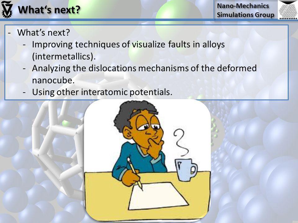 Nano-Mechanics Simulations Group Nano-Mechanics Simulations Group What's next? -What's next? -Improving techniques of visualize faults in alloys (inte