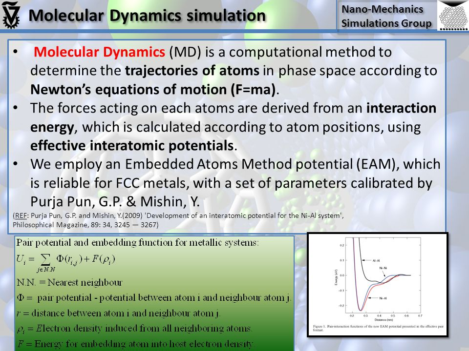 Nano-Mechanics Simulations Group Nano-Mechanics Simulations Group Molecular Dynamics (MD) is a computational method to determine the trajectories of atoms in phase space according to Newton's equations of motion (F=ma).
