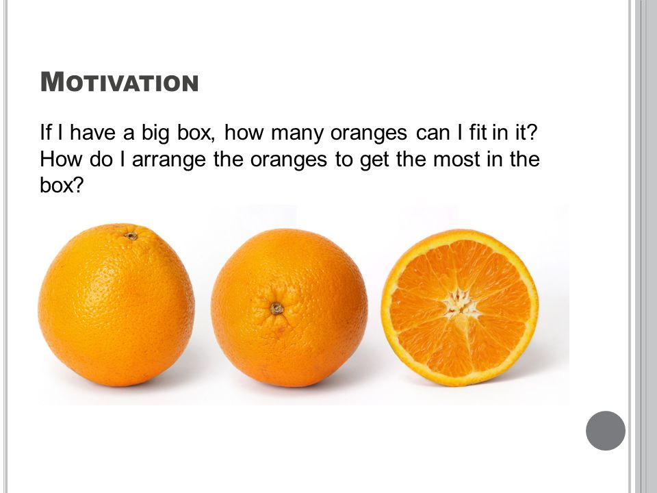 M OTIVATION If I have a big box, how many oranges can I fit in it.