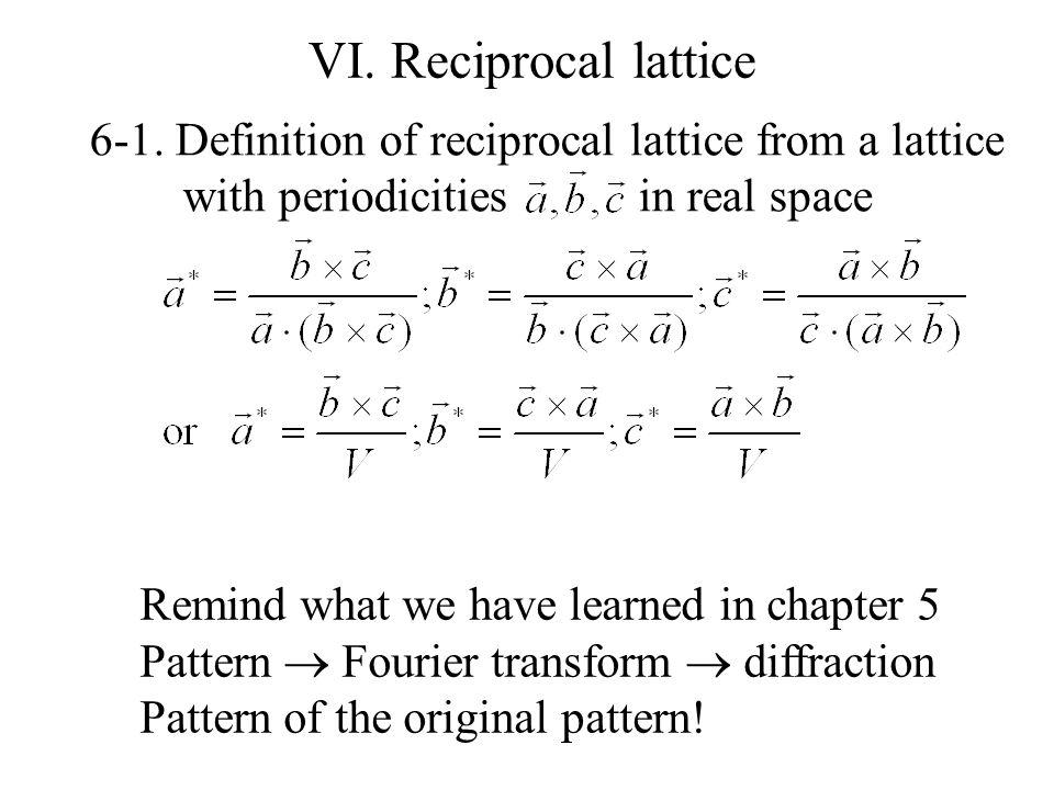 Relationships between a, b, c and a *, b *, c * : Monoclinic: plane  y-axis (b) a c c*c*  d 001 Similarly, c  c * = |c * |ccos , |c * | = 1/d 001  ccos  = d 001  c  c * = 1  : c  c *.