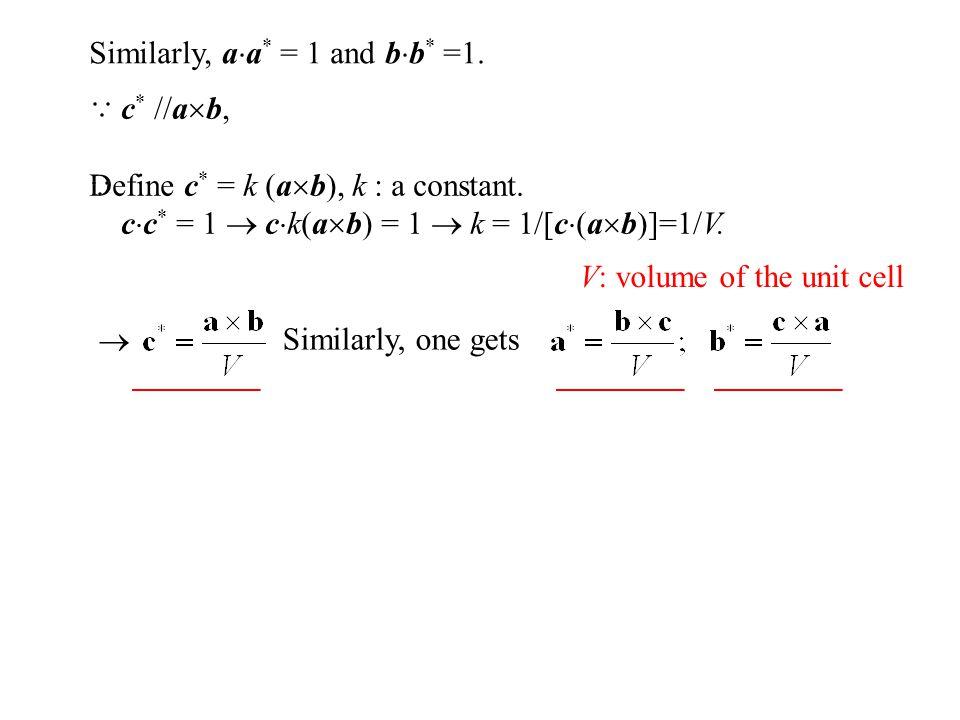 Similarly, a  a * = 1 and b  b * =1. c * //a  b, Define c * = k (a  b), k : a constant. c  c * = 1  c  k(a  b) = 1  k = 1/[c  (a  b)]=1/V.