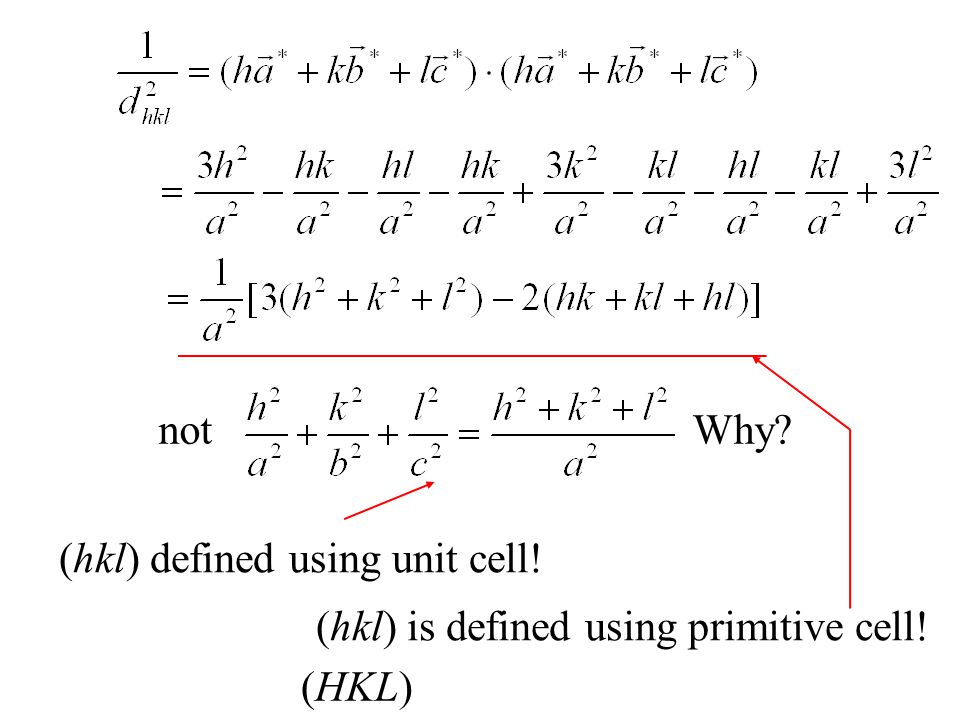 notWhy? (hkl) defined using unit cell! (hkl) is defined using primitive cell! (HKL)