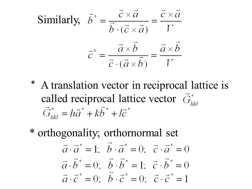 * In orthorhombic, tetragonal and cubic systems, * is perpendicular to the plane (h, k, l) in real space A B C The reciprocal lattice vector