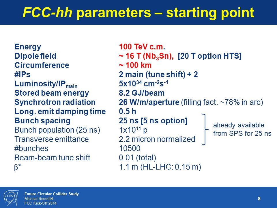8 Future Circular Collider Study Michael Benedikt FCC Kick-Off 2014 FCC-hh parameters – starting point Energy 100 TeV c.m. Dipole field ~ 16 T (Nb 3 S