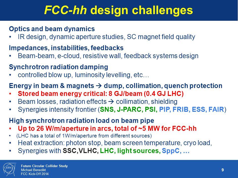 10 Future Circular Collider Study Michael Benedikt FCC Kick-Off 2014 High-field magnet R&D targets FCC-hh baseline 16T Nb 3 Sn technology for ~100 TeV c.m.
