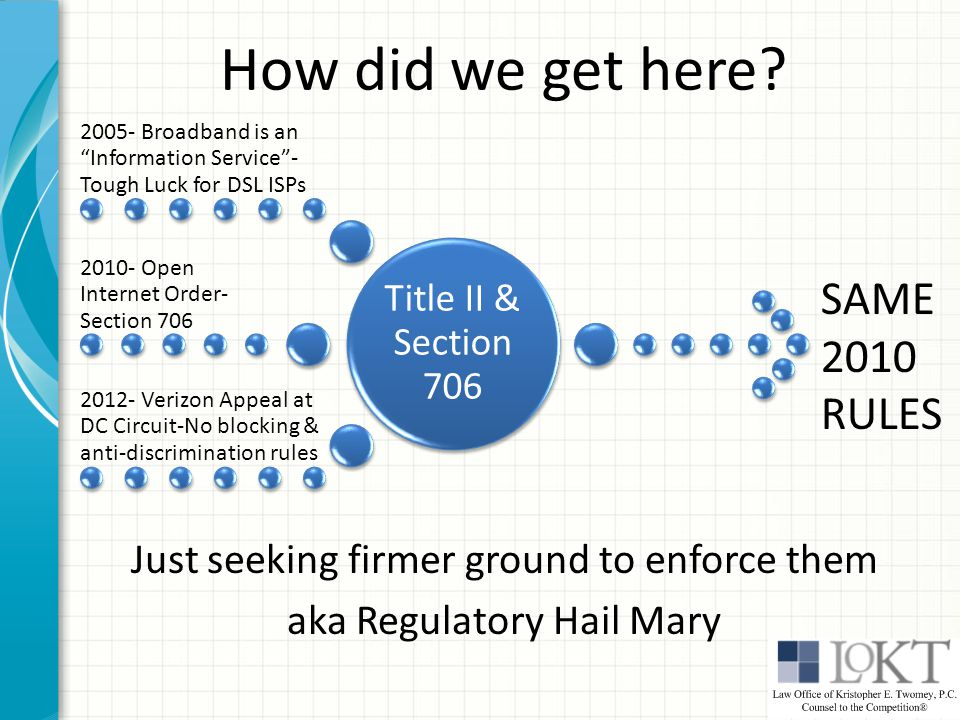 "How did we get here? Just seeking firmer ground to enforce them aka Regulatory Hail Mary Title II & Section 706 2005- Broadband is an ""Information Ser"
