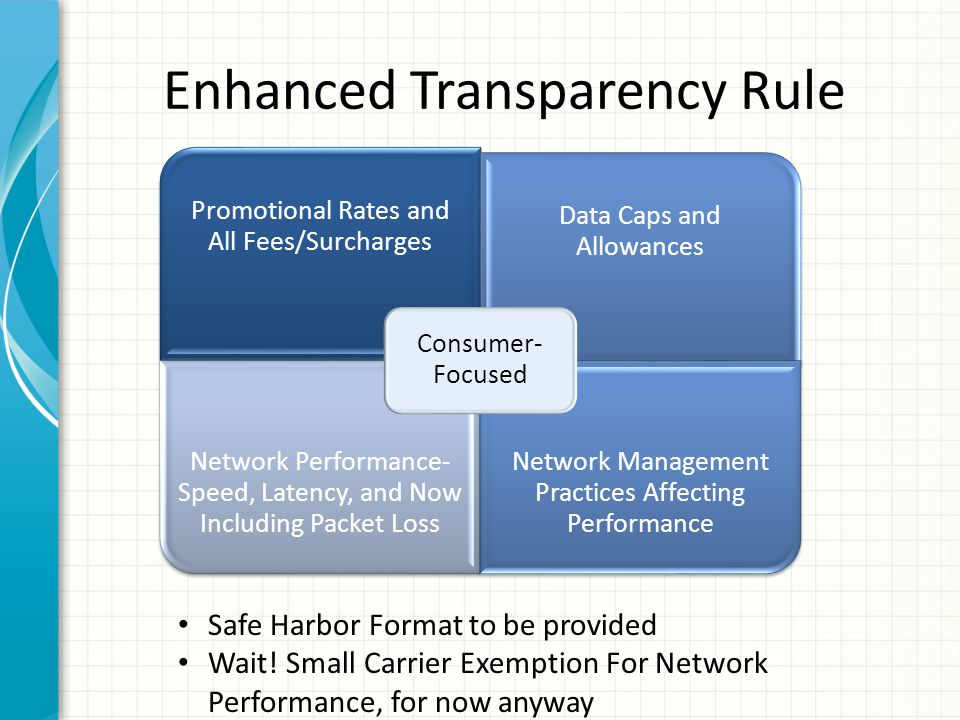 Enhanced Transparency Rule Promotional Rates and All Fees/Surcharges Data Caps and Allowances Network Performance- Speed, Latency, and Now Including P