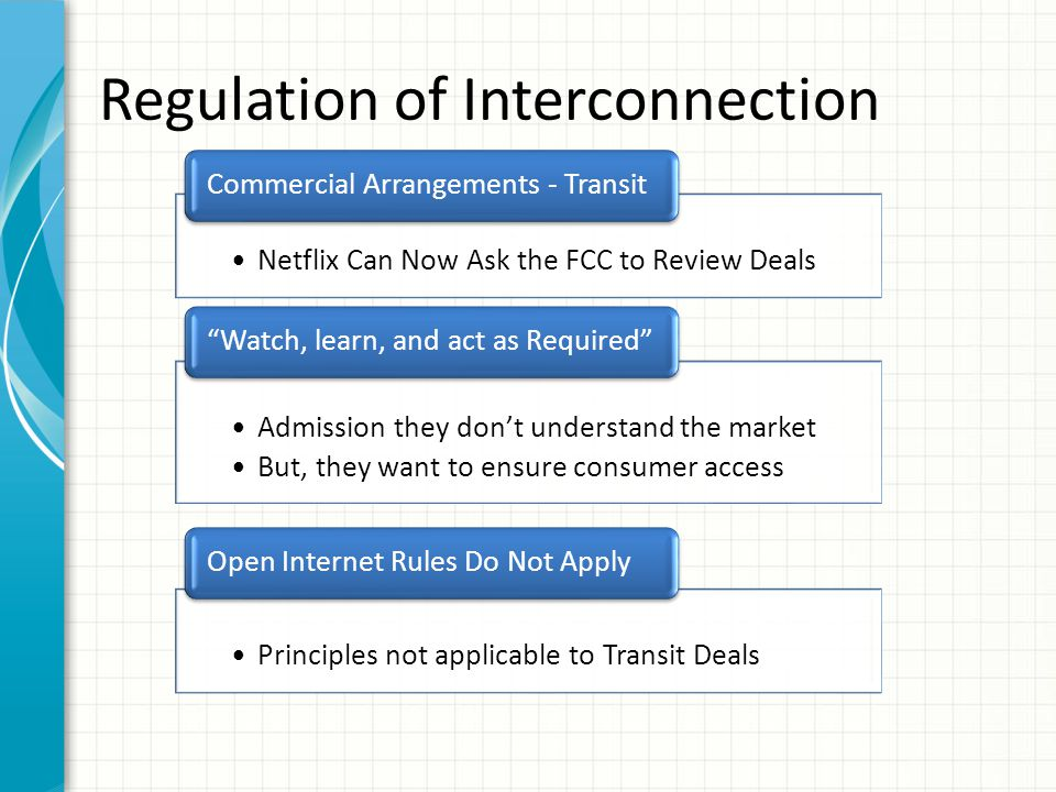Regulation of Interconnection Netflix Can Now Ask the FCC to Review Deals Commercial Arrangements - Transit Admission they don't understand the market