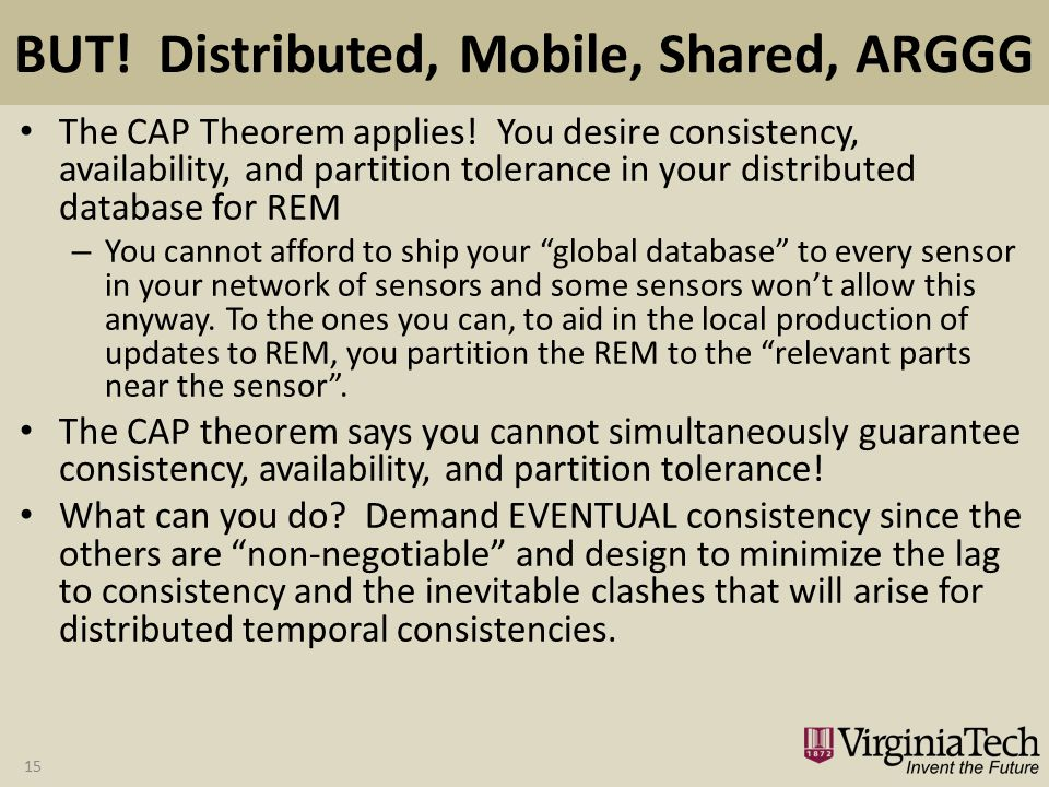 BUT. Distributed, Mobile, Shared, ARGGG The CAP Theorem applies.