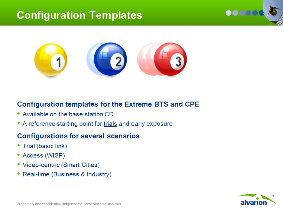 Proprietary and confidential, subject to the presentation disclaimer. 10 Configuration Templates Configuration templates for the Extreme BTS and CPE A
