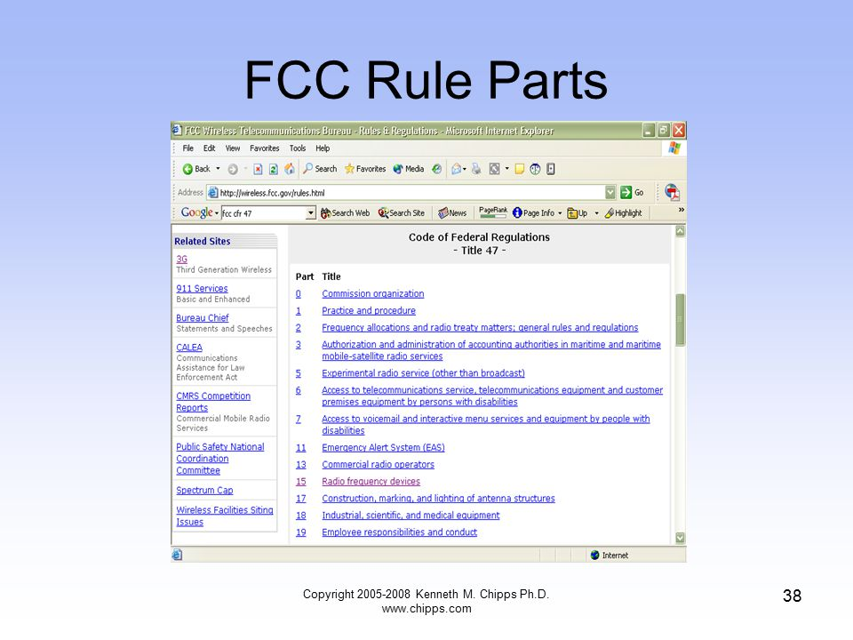 FCC Rule Parts Copyright 2005-2008 Kenneth M. Chipps Ph.D. www.chipps.com 38