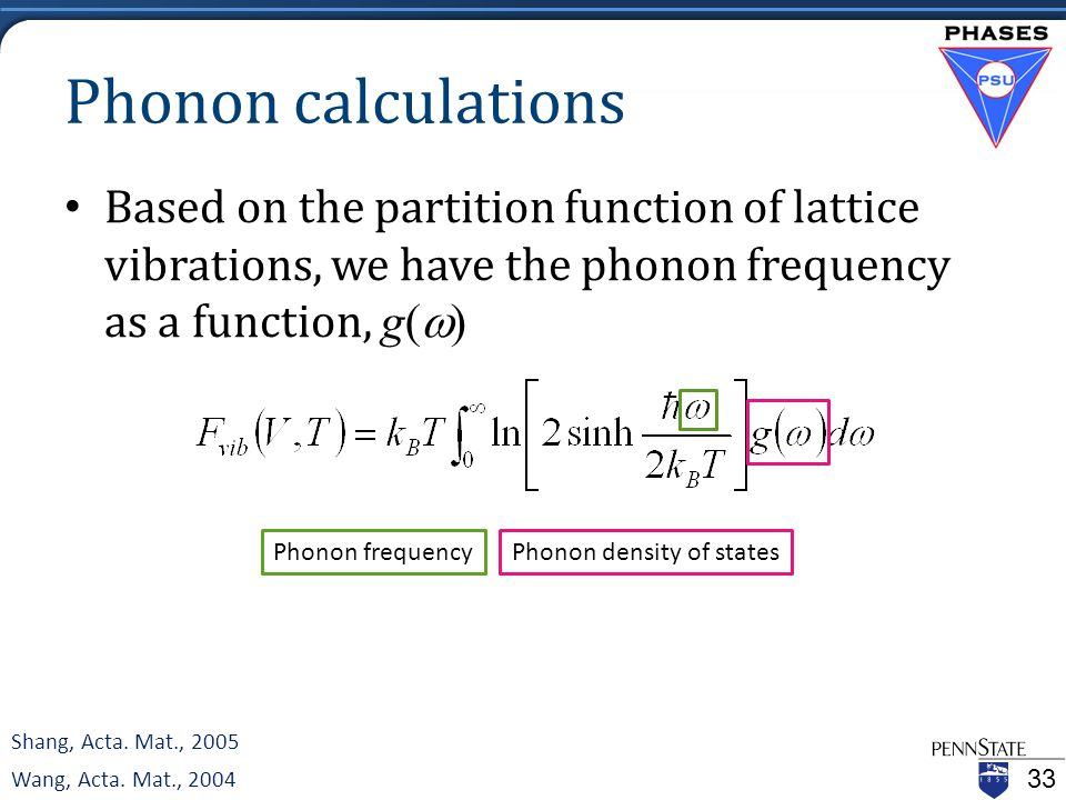 Phonon calculations Based on the partition function of lattice vibrations, we have the phonon frequency as a function, g(  ) 33 Shang, Acta.