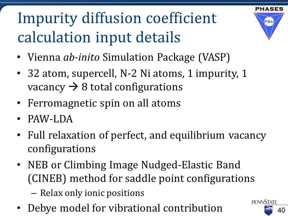 Impurity diffusion coefficient calculation input details Vienna ab-inito Simulation Package (VASP) 32 atom, supercell, N-2 Ni atoms, 1 impurity, 1 vacancy  8 total configurations Ferromagnetic spin on all atoms PAW-LDA Full relaxation of perfect, and equilibrium vacancy configurations NEB or Climbing Image Nudged-Elastic Band (CINEB) method for saddle point configurations – Relax only ionic positions Debye model for vibrational contribution 40