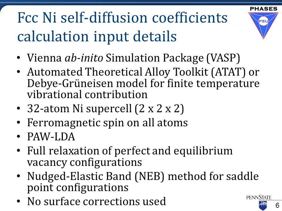Fcc Ni self-diffusion coefficients calculation input details Vienna ab-inito Simulation Package (VASP) Automated Theoretical Alloy Toolkit (ATAT) or Debye-Grüneisen model for finite temperature vibrational contribution 32-atom Ni supercell (2 x 2 x 2) Ferromagnetic spin on all atoms PAW-LDA Full relaxation of perfect and equilibrium vacancy configurations Nudged-Elastic Band (NEB) method for saddle point configurations No surface corrections used 6