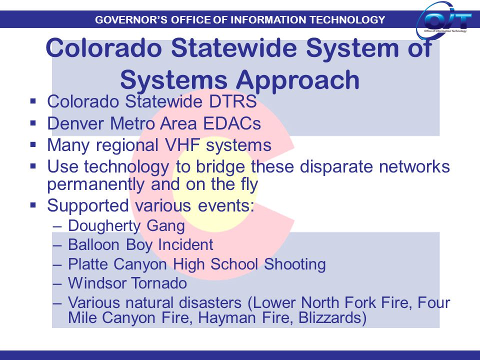 GOVERNOR'S OFFICE OF INFORMATION TECHNOLOGY  Colorado Statewide DTRS  Denver Metro Area EDACs  Many regional VHF systems  Use technology to bridge