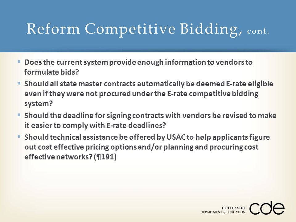  Does the current system provide enough information to vendors to formulate bids.