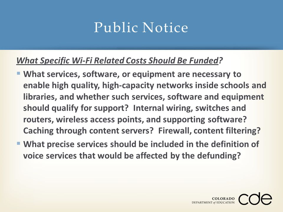 What Specific Wi-Fi Related Costs Should Be Funded.