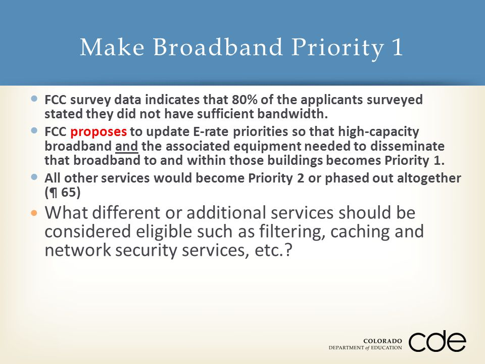 FCC survey data indicates that 80% of the applicants surveyed stated they did not have sufficient bandwidth.