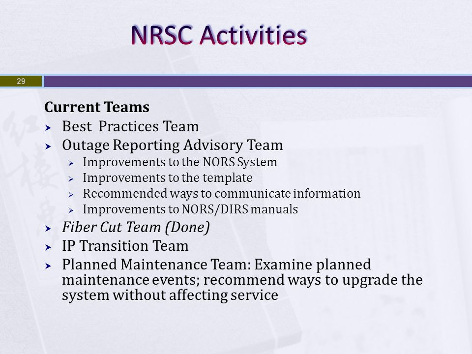 Current Teams  Best Practices Team  Outage Reporting Advisory Team  Improvements to the NORS System  Improvements to the template  Recommended ways to communicate information  Improvements to NORS/DIRS manuals  Fiber Cut Team (Done)  IP Transition Team  Planned Maintenance Team: Examine planned maintenance events; recommend ways to upgrade the system without affecting service 29